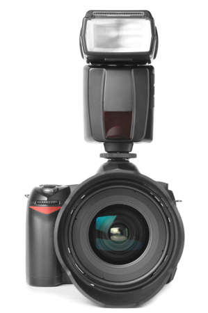 camera with an external flash attached photo