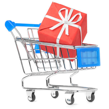 closeup of a shopping cart with gift Stock Photo - 8705213