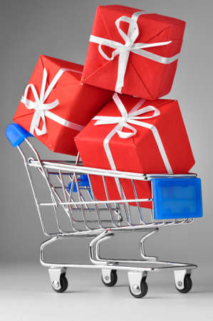 closeup of a shopping cart with gifts Stock Photo - 8705478