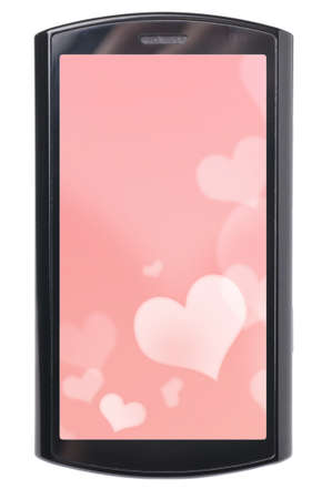 touch screen phone with valentine background on it photo