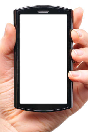 female hand is holding a modern touch screen phone Stock Photo - 8705269