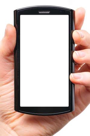 celulas humanas: mano femenina es la celebraci�n de un tel�fono de pantalla de toque moderno Foto de archivo