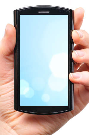female hand is holding a modern touch screen phone Stock Photo - 8705579