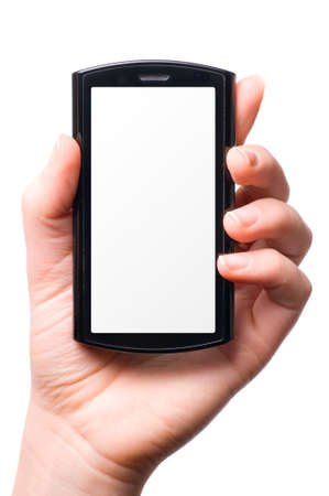 female hand is holding a modern touch screen phone photo