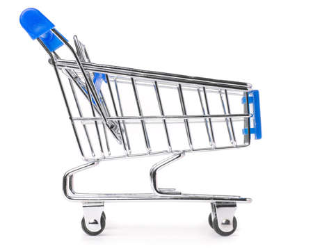 side view of a shopping cart isolated on white Stock Photo - 8856717