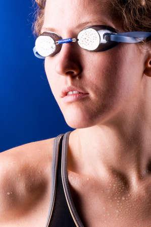 looking sideways woman swimmer photo