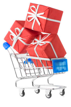 shopping cart with gifts Stock Photo - 8857111