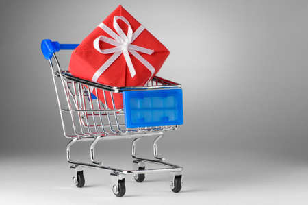 shopping cart with gift Stock Photo - 8857123