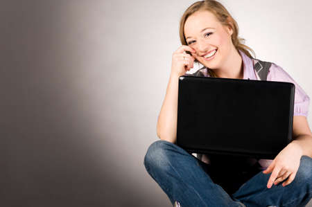 office woman with laptop photo