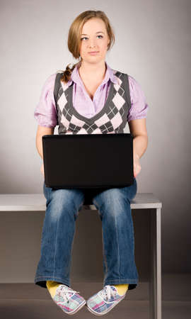 office woman with laptop Stock Photo - 9056732