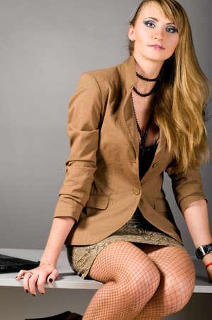 long stockings: sexy business woman Stock Photo