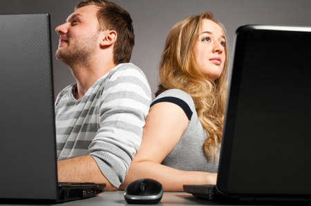 couple with laptop Stock Photo - 9258965