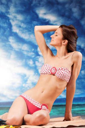 woman on beach photo