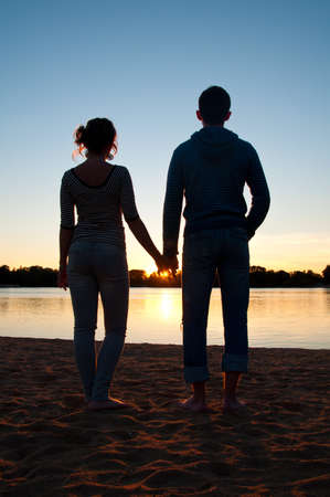 silhouettes of couple photo