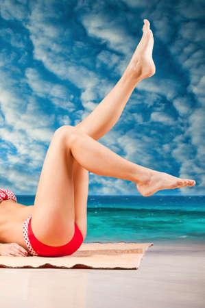foot model: woman at beach Stock Photo