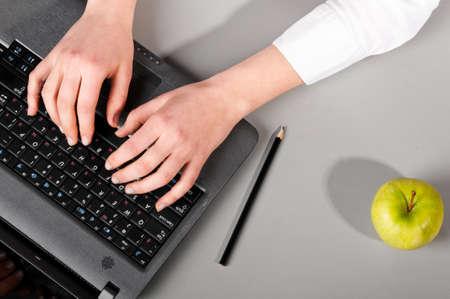 working on laptop photo