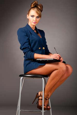 secretaria sexy: mujer en la Oficina Foto de archivo