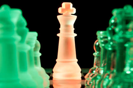 mind set: red and green glass chess pieces