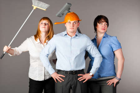 cleaning team: business trio
