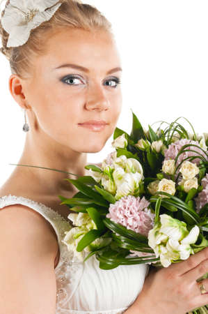 happy bride with flowers portrait, cut out from white Stock Photo - 9756583