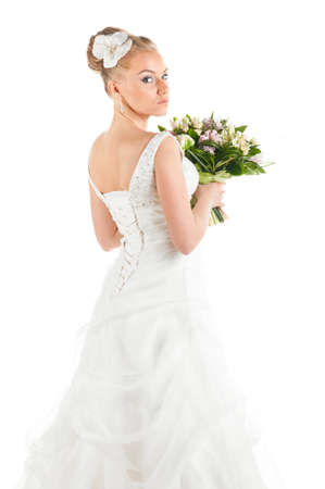 happy bride with flowers portrait, cut out from white Stock Photo - 9756303