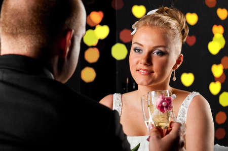 bride and groom are sitting at cafe Stock Photo - 9756395