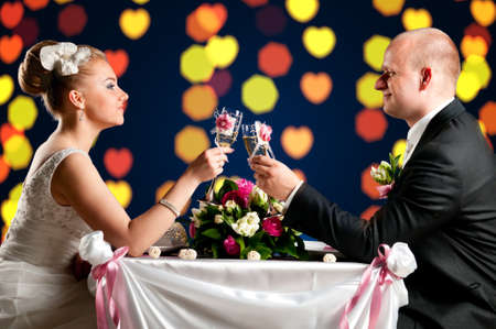 bride and groom are sitting at cafe Stock Photo - 9756536