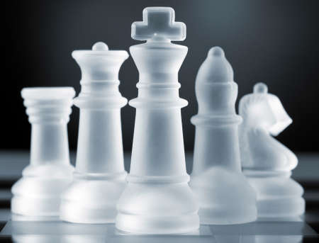 frosted glass: glass chess pieces