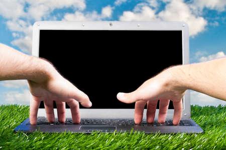 laptop outdoors photo