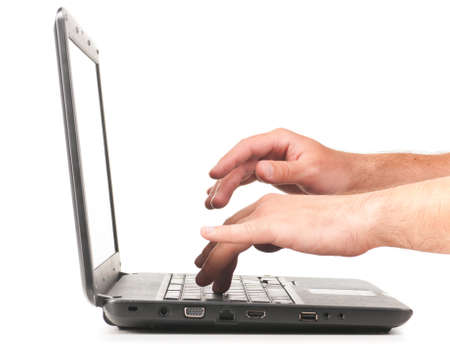 palm computer: hands are working on laptop