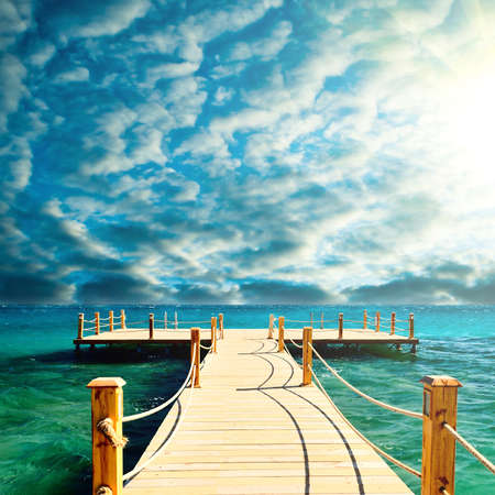 tropical wooden pier Stock Photo