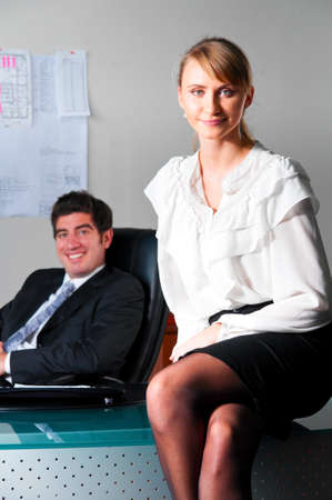 pantyhose: couple at office