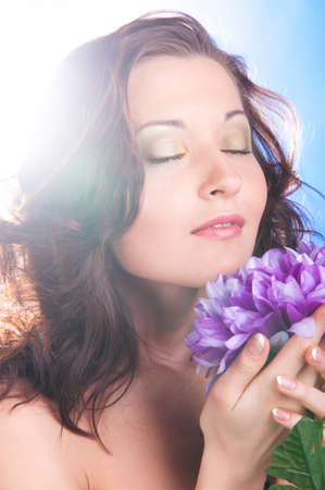 woman with big flower photo