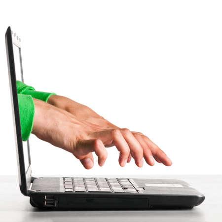 hacker's hands Stock Photo - 10364843