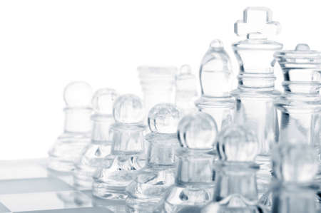 mind game: glass chess pieces
