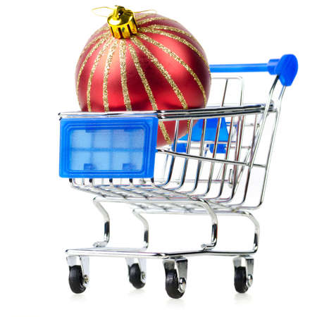 cart with red gift box photo