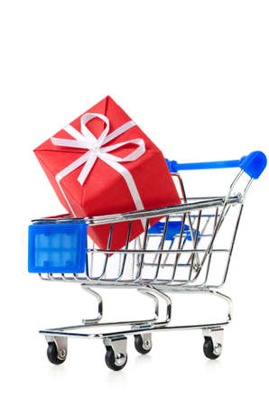 red gift box: cart with red gift box Stock Photo