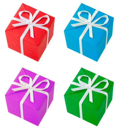 four colored gift boxes photo
