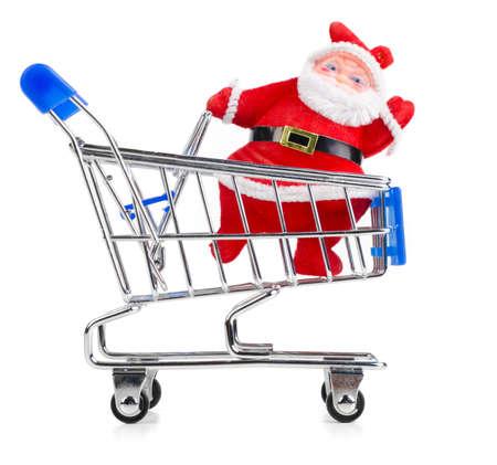 Santa Claus in chopping cart photo