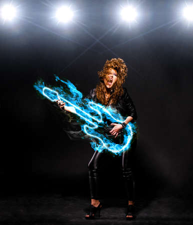 stage make up: playing rock music