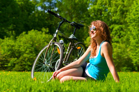 woman and bike photo