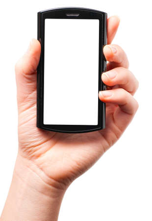 wireless telephone: holding a modern touch screen phone Stock Photo