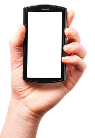 �cran tactile: tenant un t�l�phone tactile moderne �cran Banque d'images