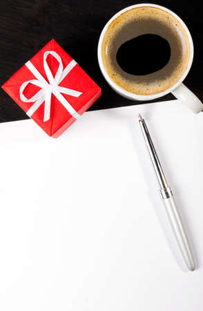 gift box and coffee cup photo