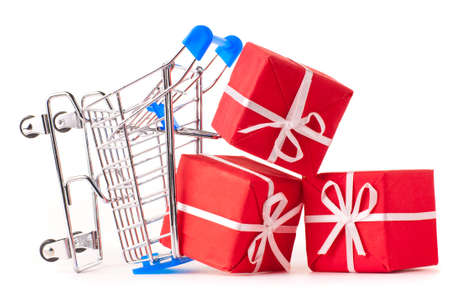 shopping cart with gifts photo