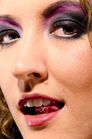 glam rock: female face with make up