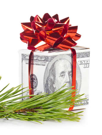 gift box made of dollars Stock Photo - 11747190