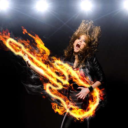 fire show: playing rock music
