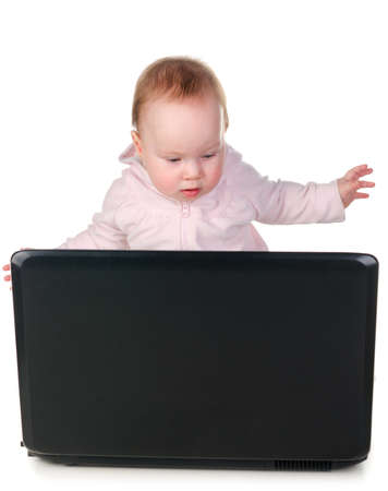 baby is working on laptop Stock Photo - 12027745