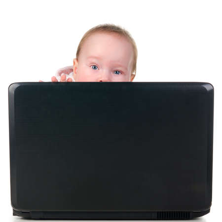 baby is working on laptop Stock Photo - 12027741